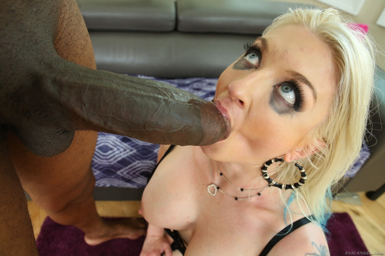 Hot blonde chick Leya Falcon gets ass fucked by a BBC in back seam nylons