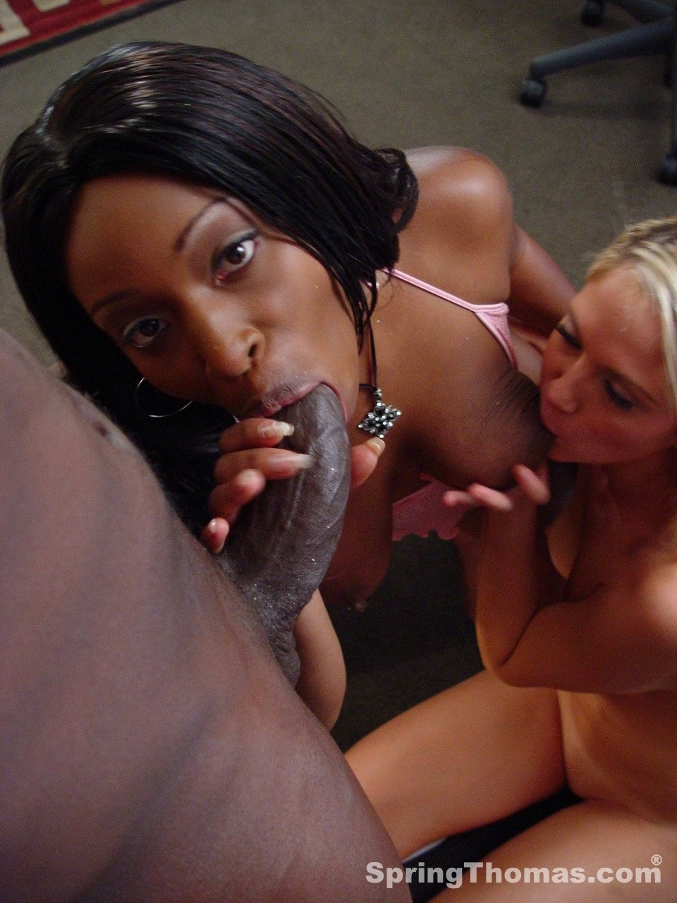 Black couple invites a white girl to join them for an interracial threesome