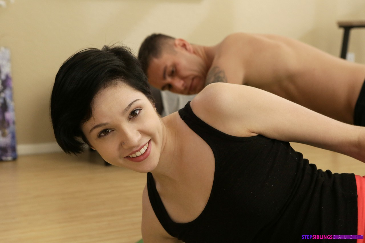 Dark haired girl Cadey Mercury fucks her stepbrother after doing yoga