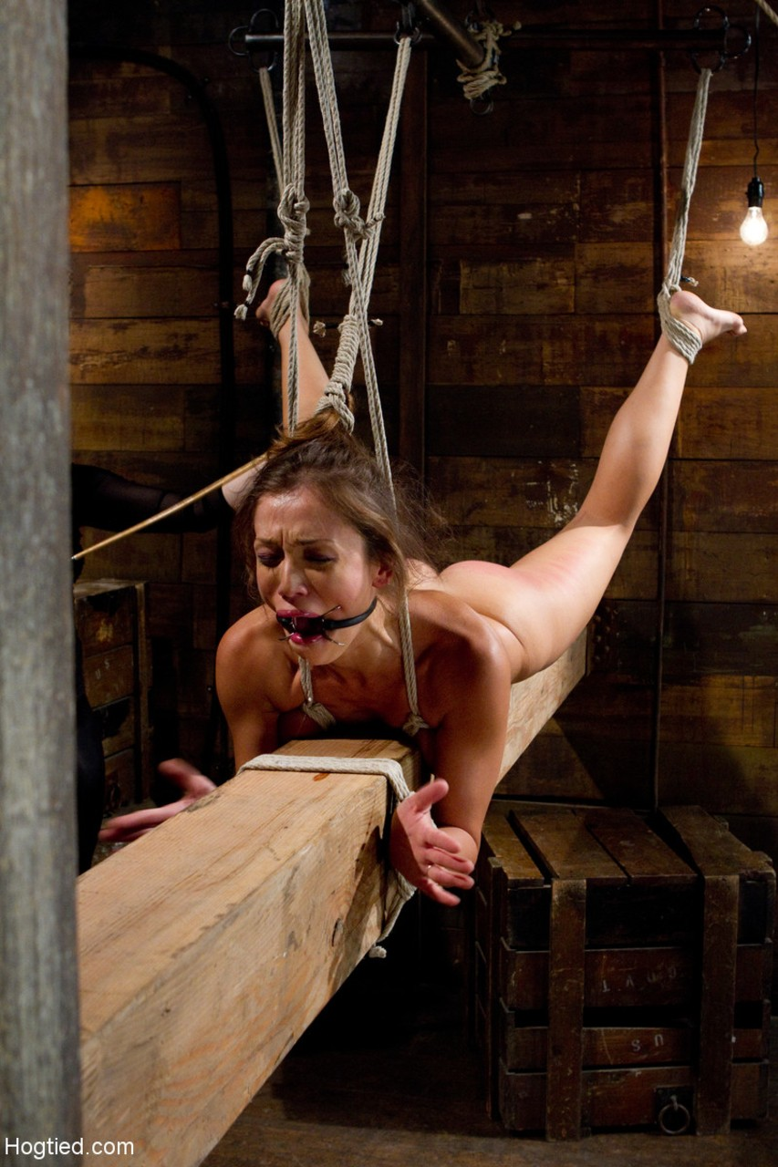 Solo girl Audrey Rose endures extreme mouth spreading and tit torture