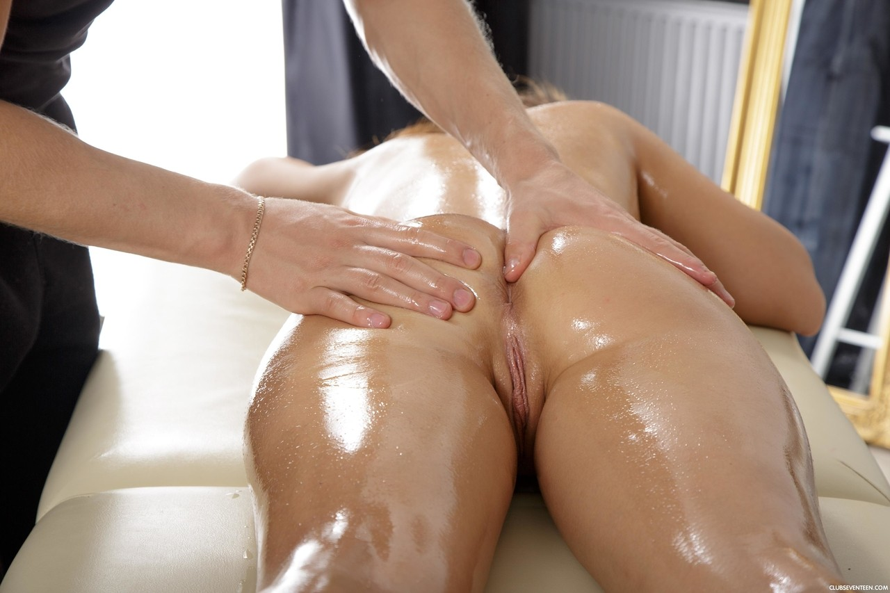 naked hot oil massaging