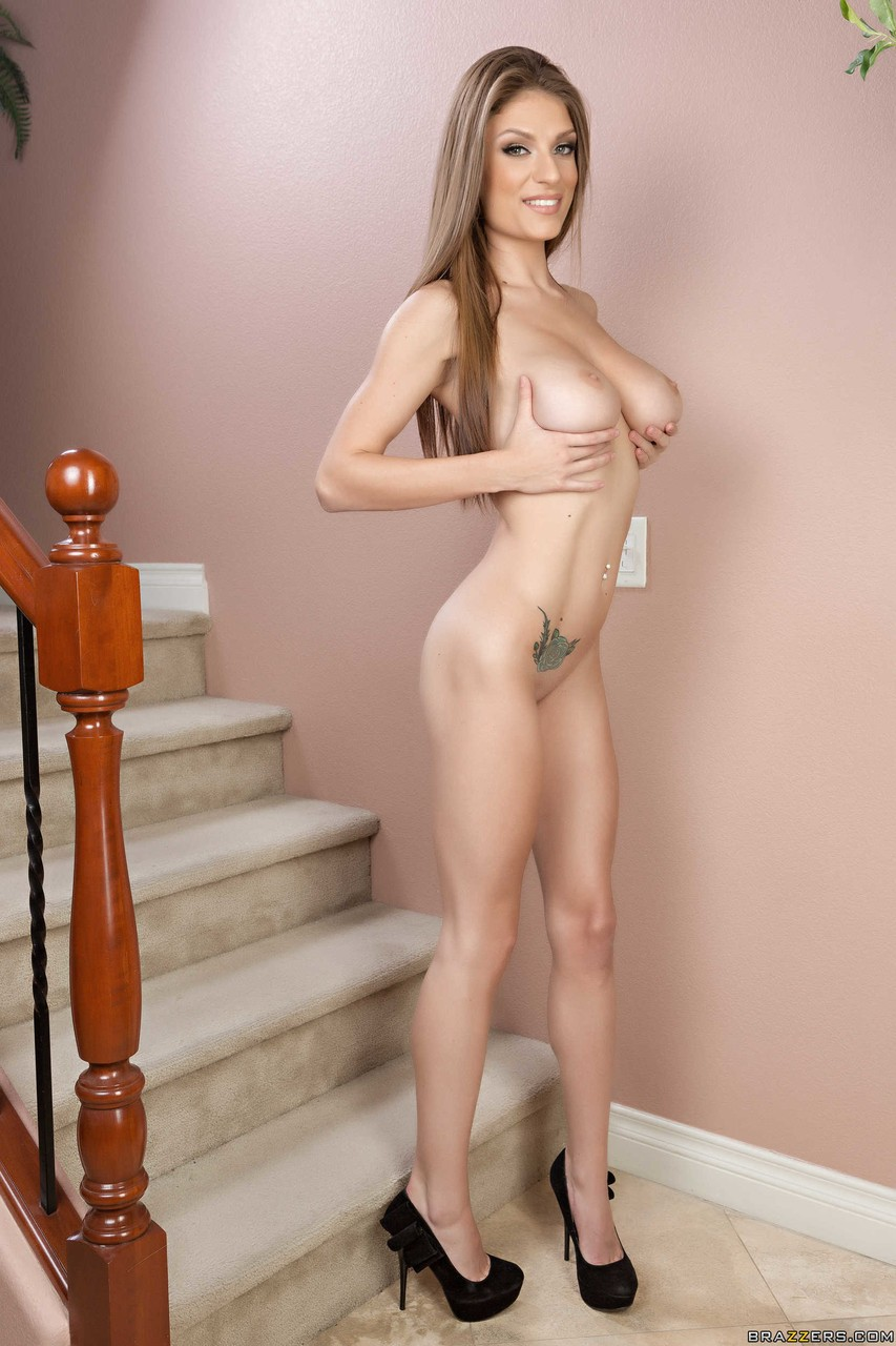 Foxy brunette Dillion Carter takes off her panties to play with her tight cunt