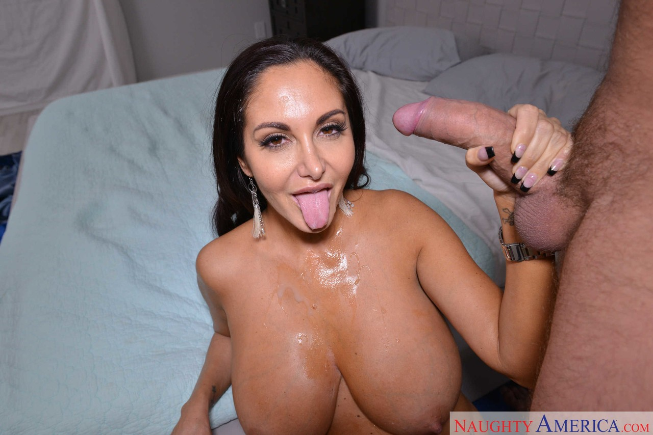 Ava Addamss big white tits look at him as she rides him until he cums on her