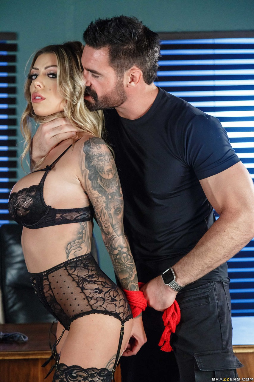 Tattooed solo girl Karma Rx eventually sets her huge boobs loose