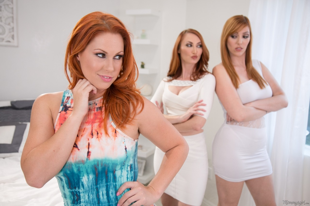 3 redheaded mother watches her redheaded daughter have dyke sex with a redhead