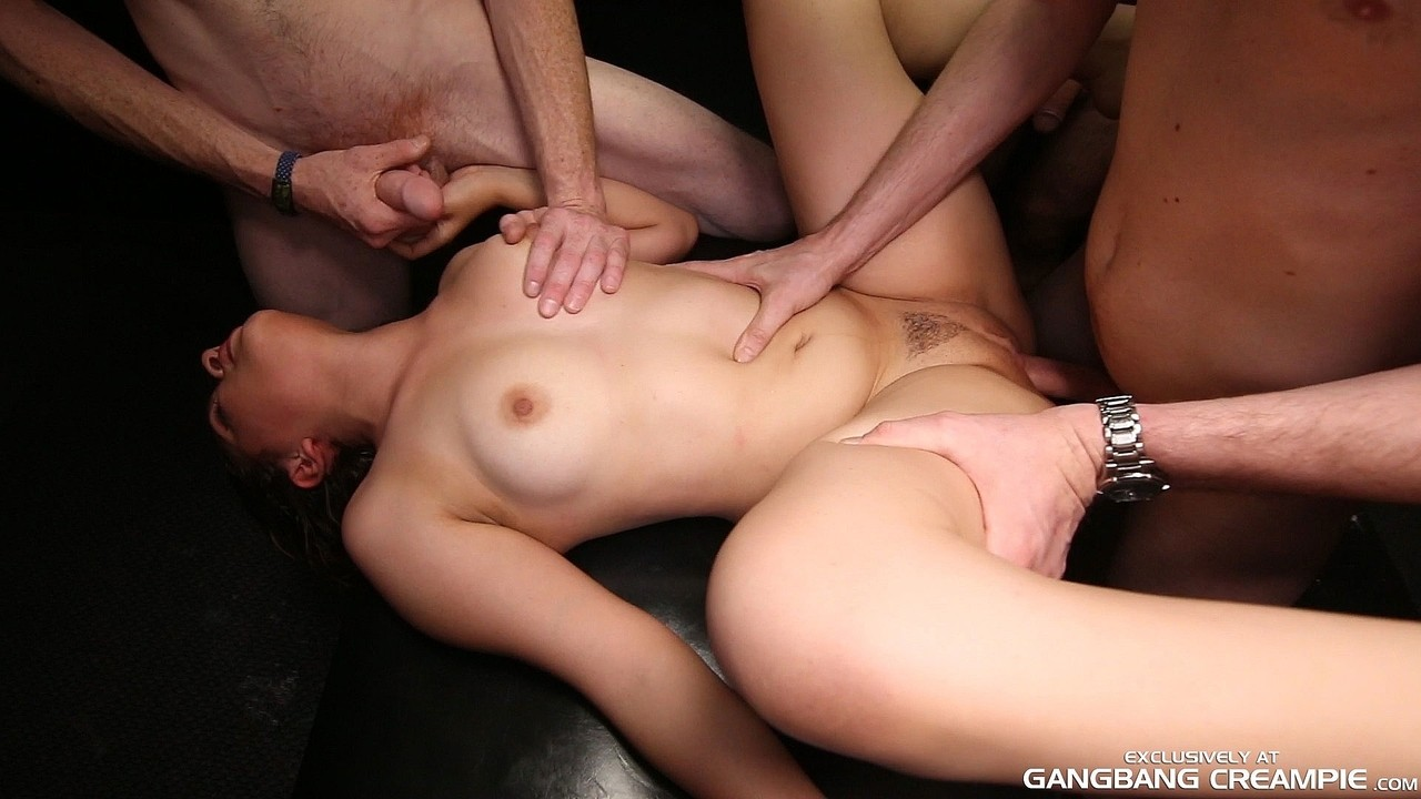 Sperm bitch lickings up seeds and sups her private creampie subsequently getting gangbanged porn photo #323600059 | Gangbang Creampie, Callie, Brunette, Gangbang, Interracial, mobile porn