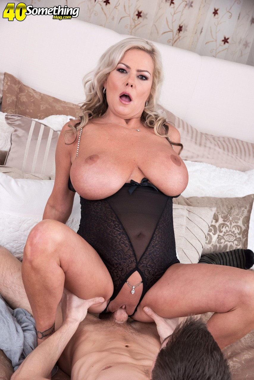 Hot older lady Samantha Jay seduces her sons best friend in crotchless attire