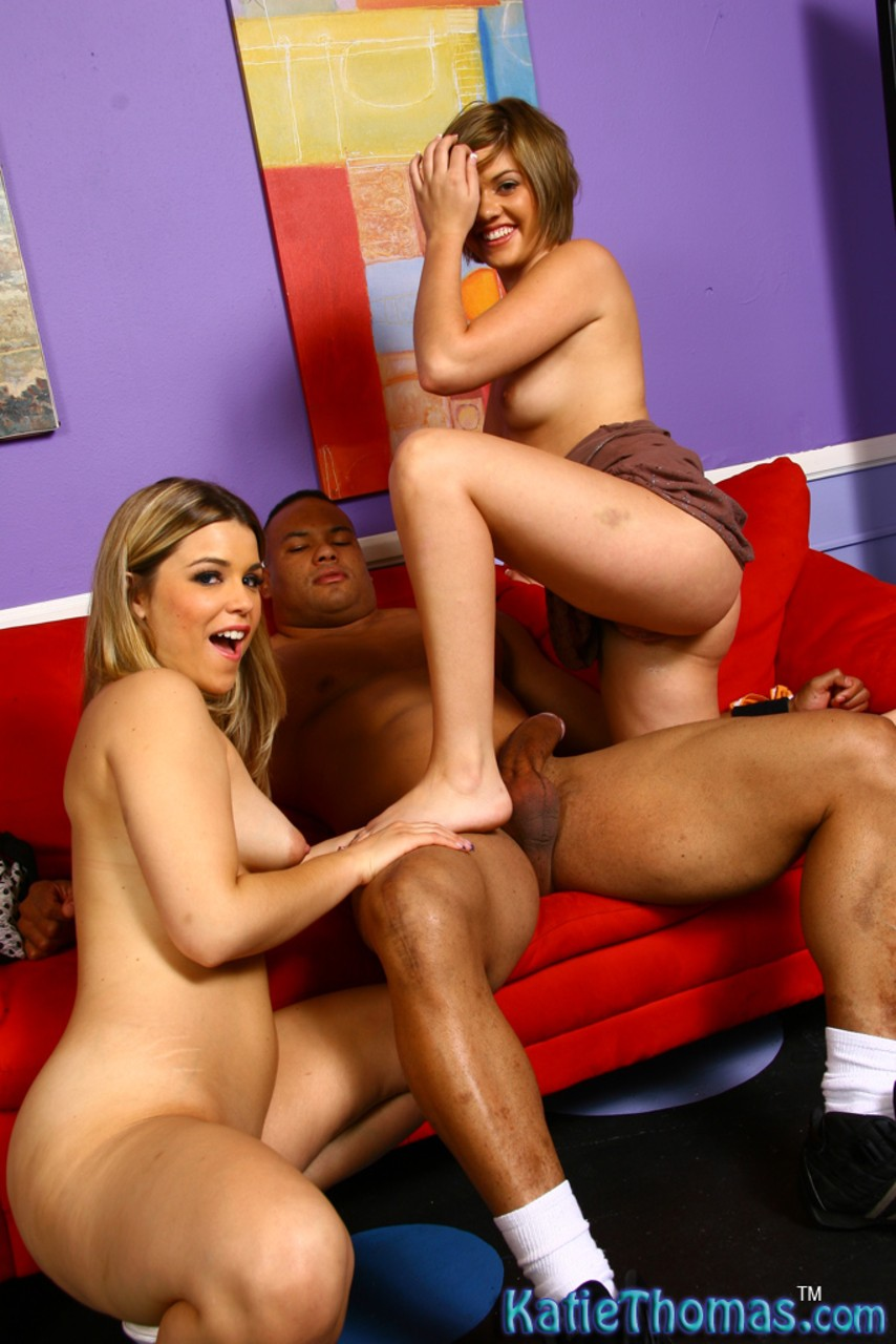 Teen first timer Haileey James swallows black jizz with help from Katie Thomas