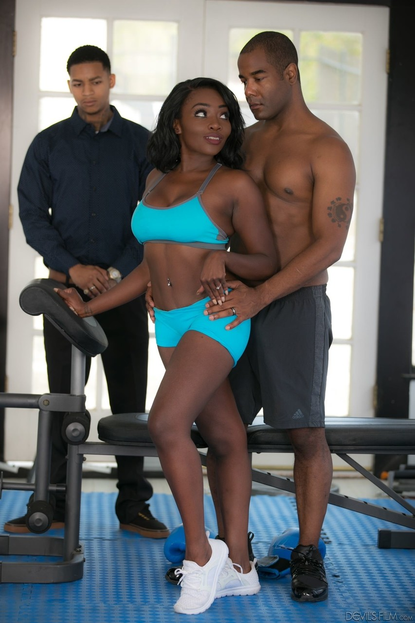 Cuckold watches his beautiful Ebony wife getting fucked by black coach