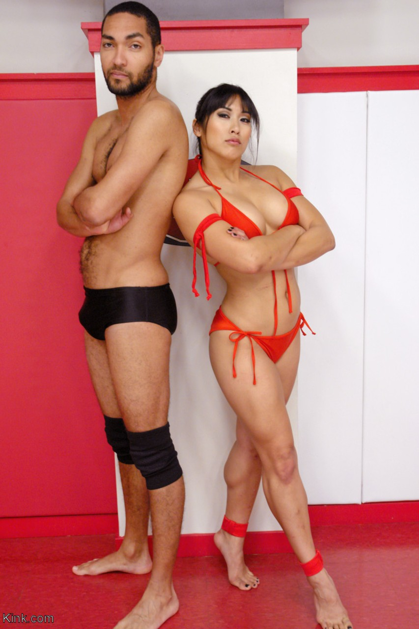 Sexy Asian female wrestler Mia Li gets her holes drilled really hard