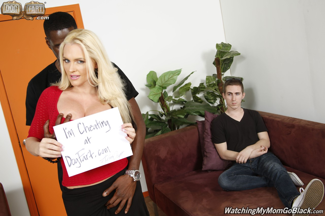 Big titted cougar Alena Croft takes care of a black stud in front of her son