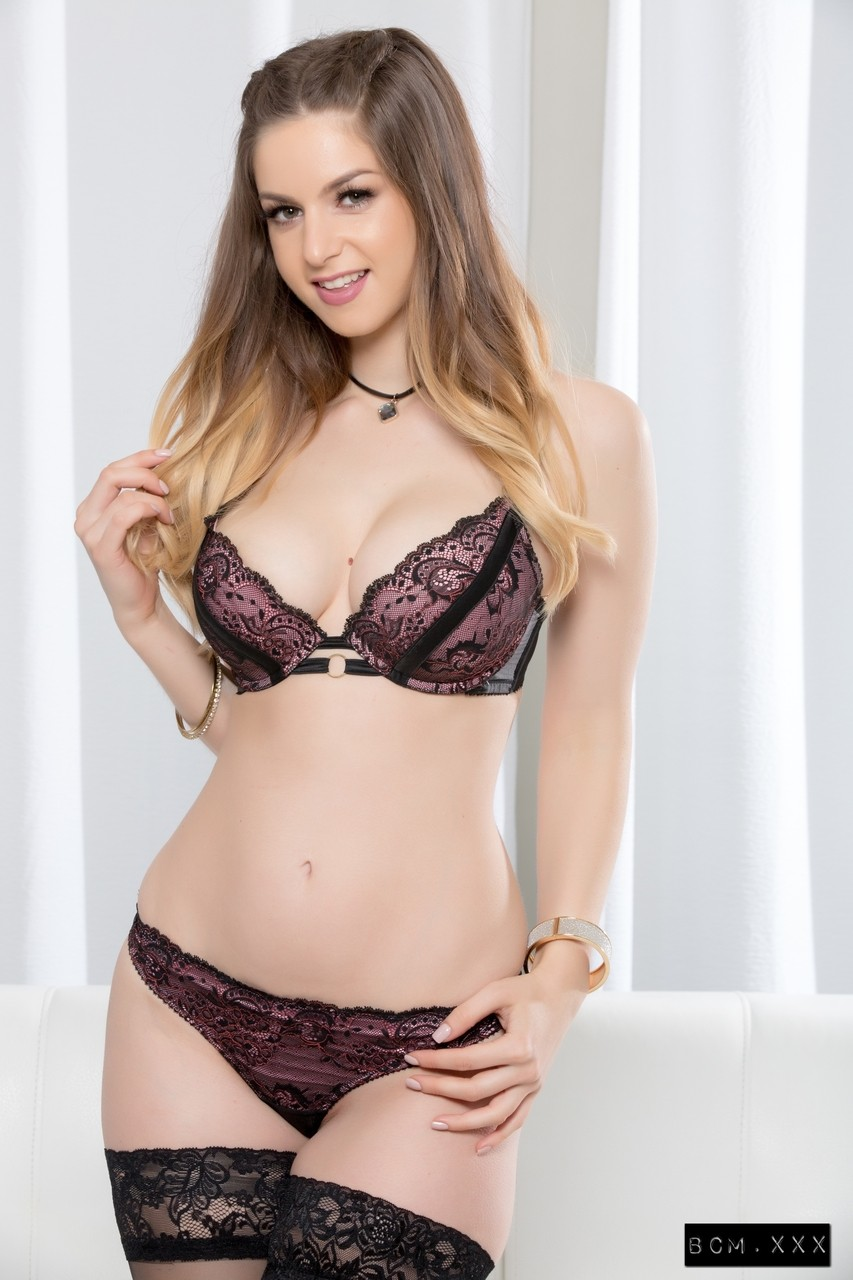 Busty British doll Stella Cox receiving a chocolate meat pole deep in her cunt