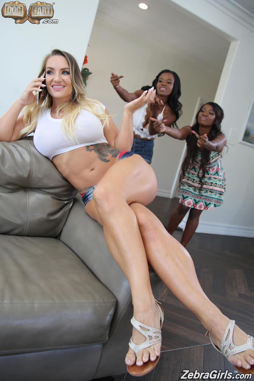 Sexy Cali Carter gets destroyed by two black babes with massive strapons