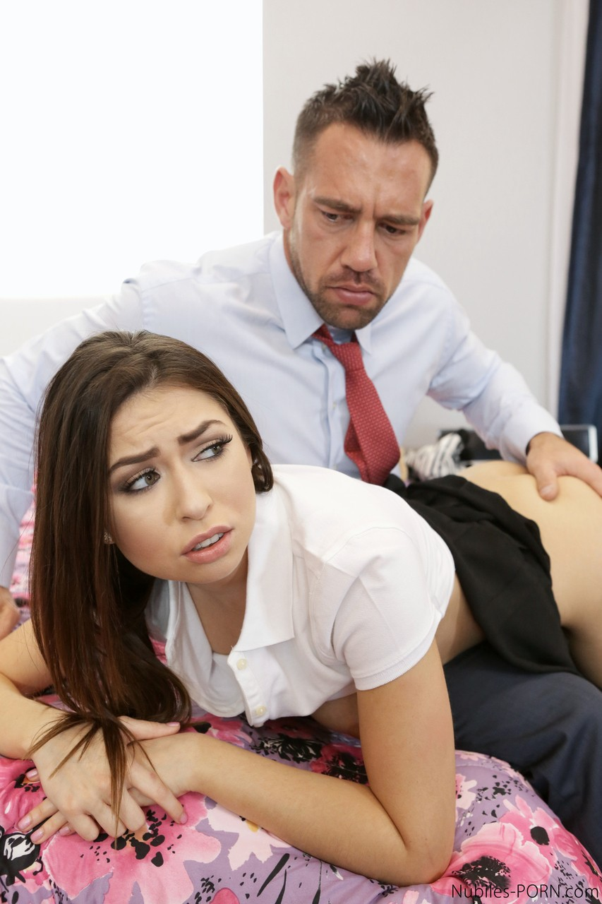 Sexy schoolgirl Melissa Moore gets taken and fucked by her stepdad