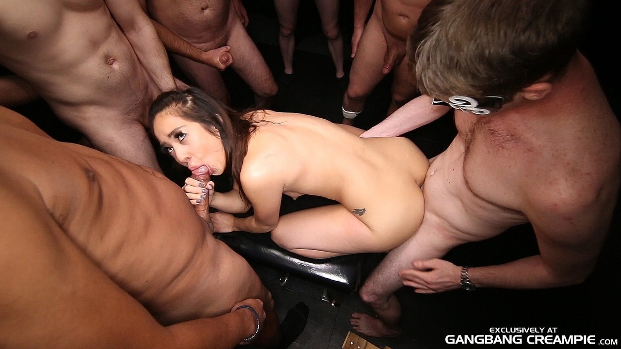 ... Cute Asian babe Mila gets her pussy destroyed and creampied in a  gangbang ...