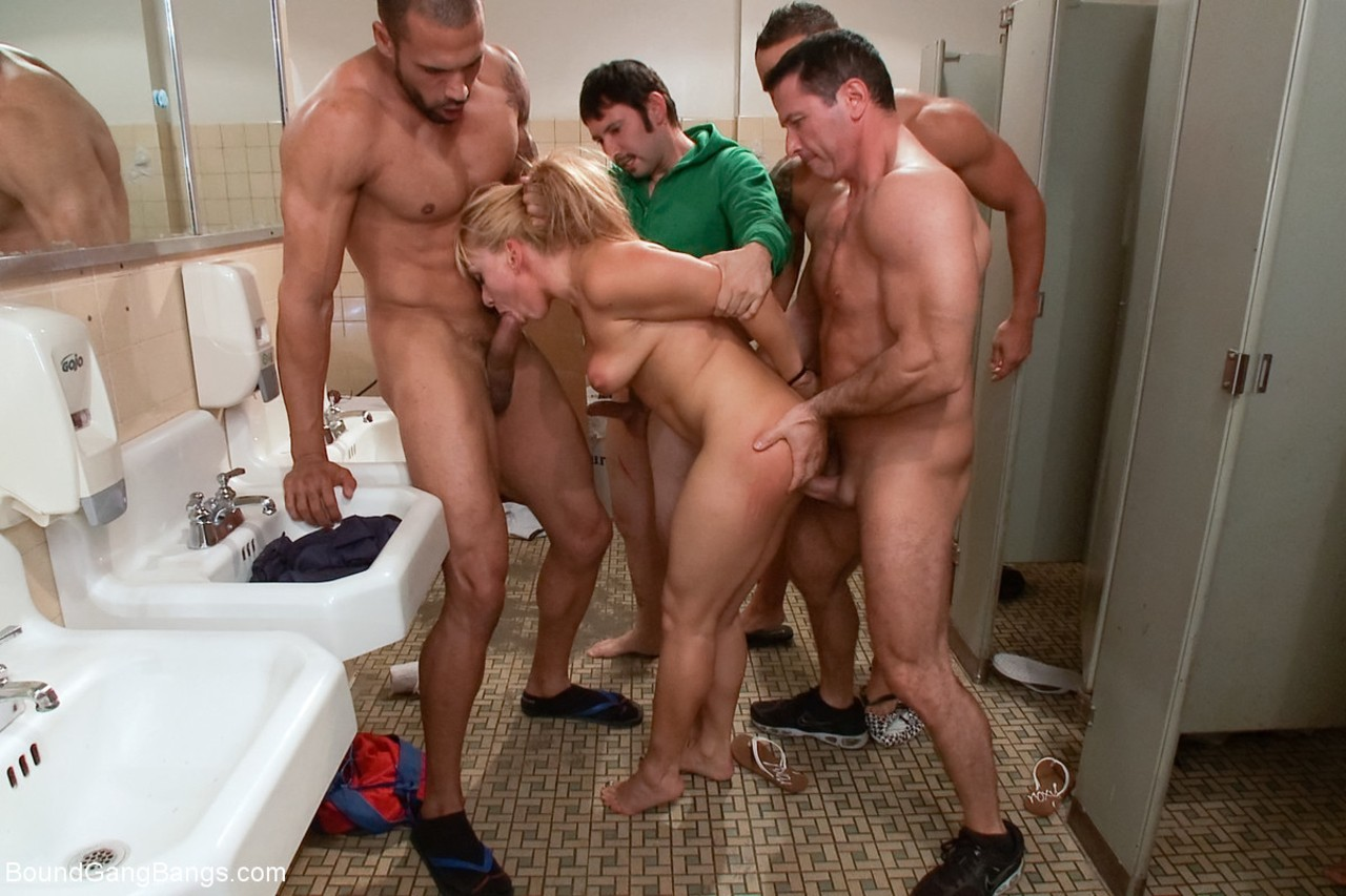 Group of muscled guys owned Romanian blonde Lea Lexis in public toilet