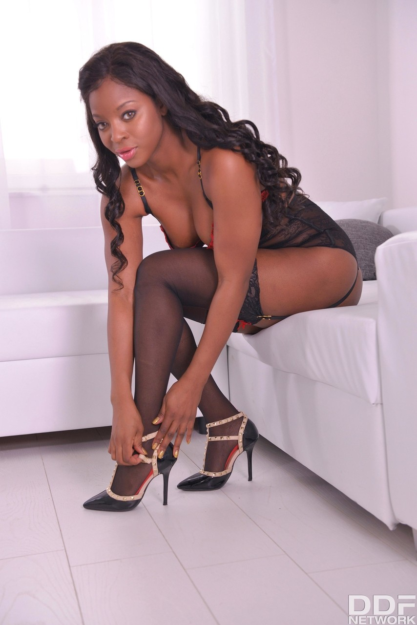 Ebony stocking tease