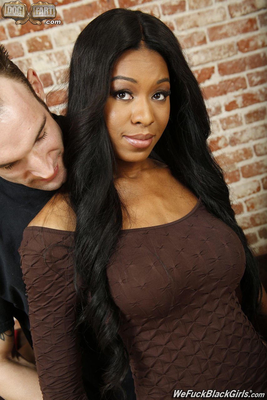 Busty black chick Nadia Jay tries her hand at fucking a white boy for a change