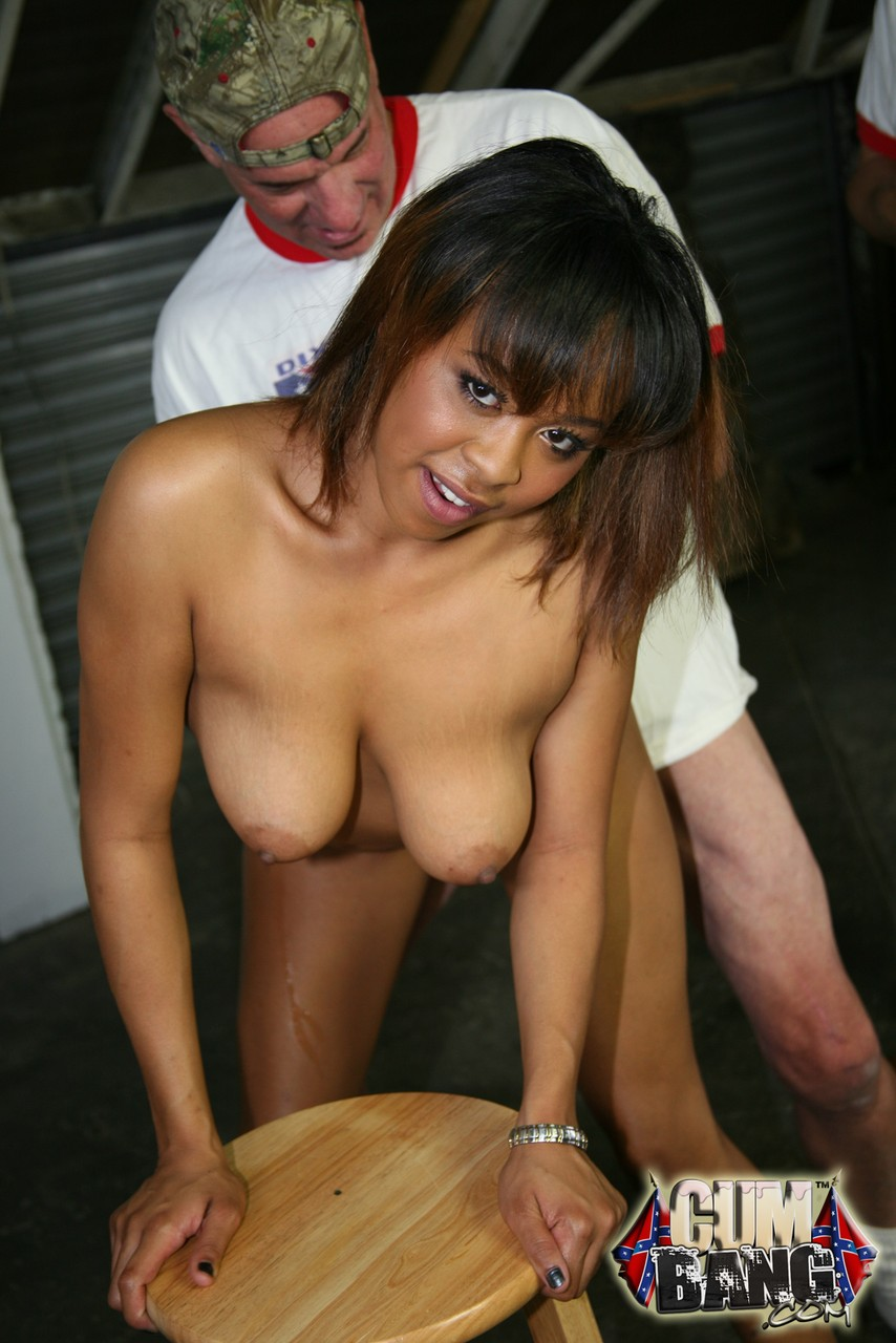 Petite black girl Brooklyn Carter gets banged and facialized by white men