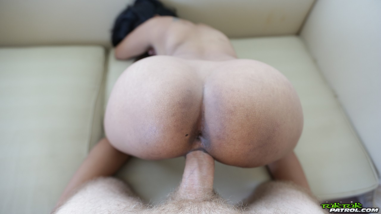 Cute Asian Lei sucks a big dick before shes penetrated hard in POV