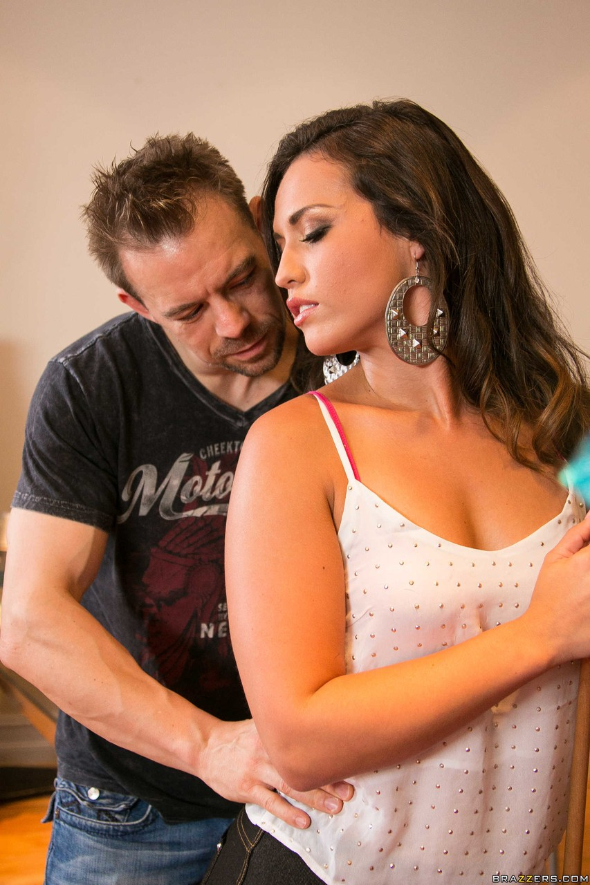 Brunette chick Kelsi Monroe gets ass banged after a game of pool and a massage