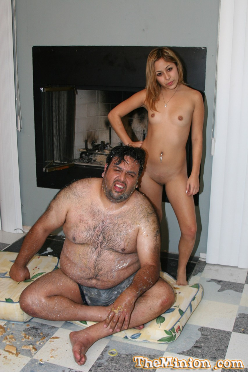 Latin American chick Kat rides a fat mans dick during messy sex by fireplace