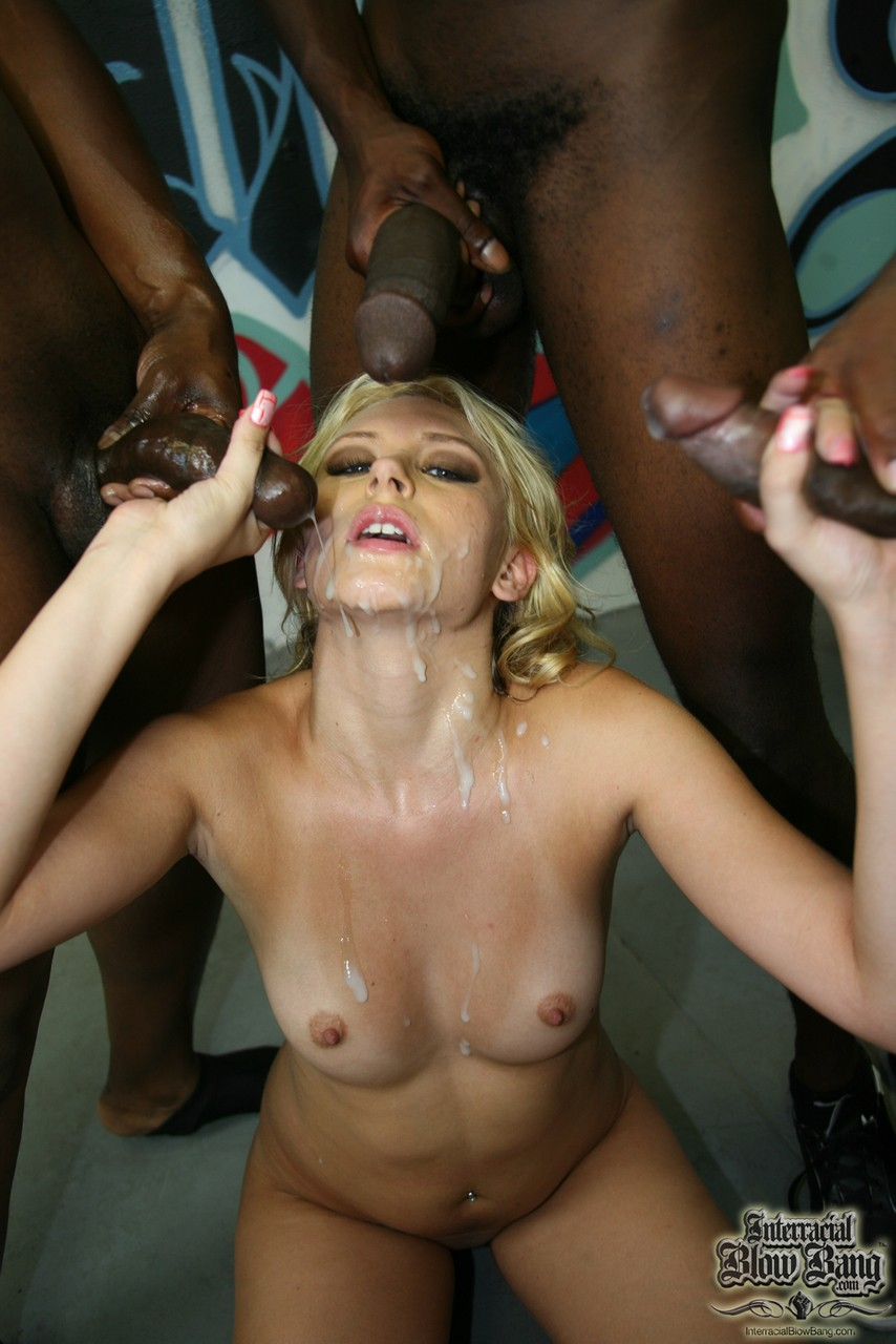 Tanned blonde Katie Summers got occupied by some big black penises