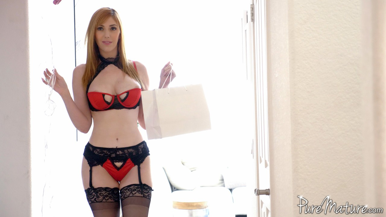 Hot redhead Lauren Phillips plays anal games on Valentines day