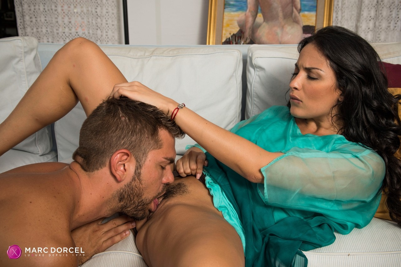 Anissa Kate gives him a blowjob before she rides his stiff shaft