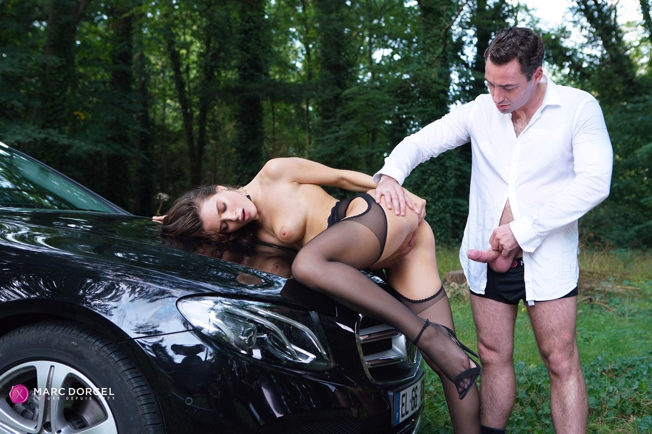 white girl lana rhoades gets banged by her man atop a car
