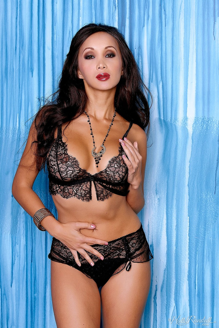 Staggering French brunette lady Katsuni removes sexy black lace lingerie
