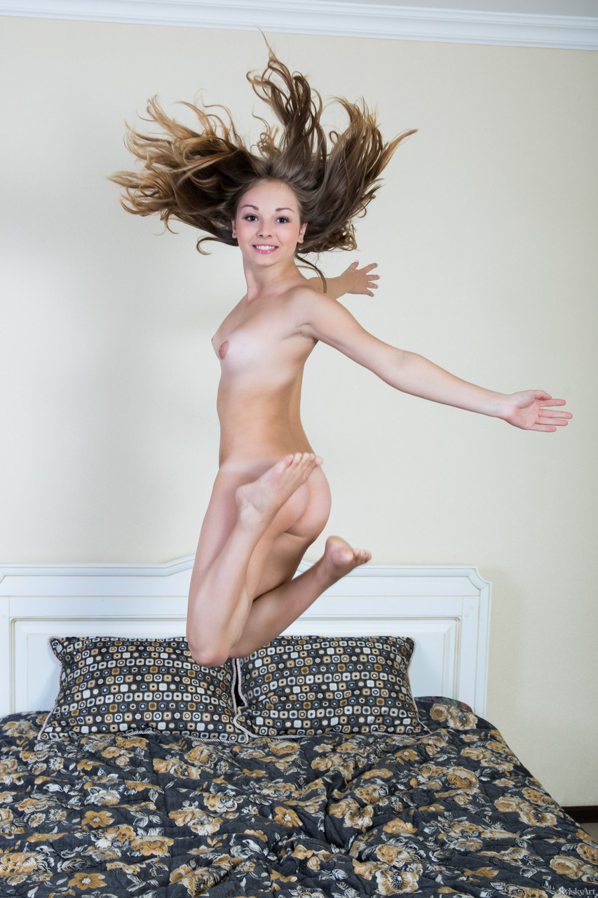 Teen chick Jeff Milton is full of energy and displays slim body with tanlines