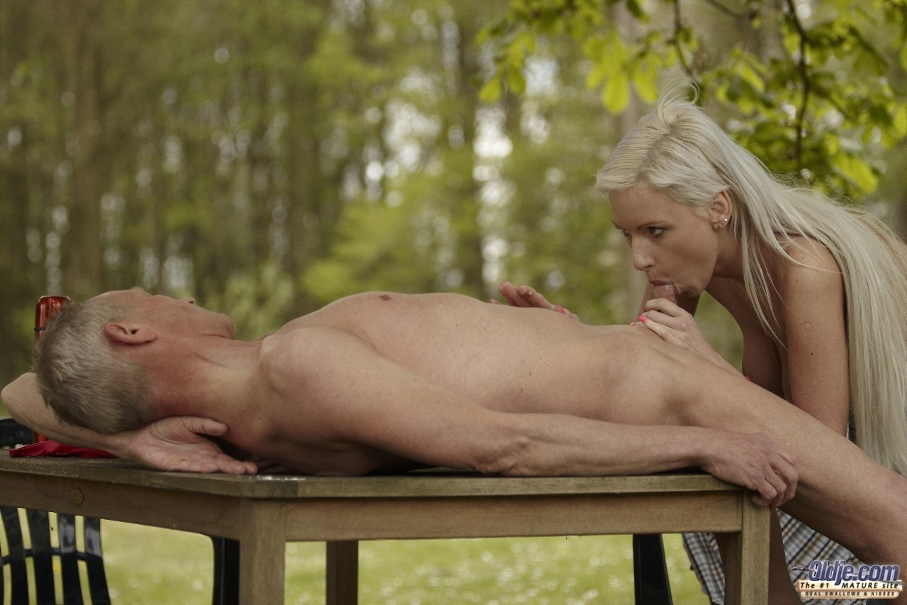 Busty teen Alexis gets down and dirty in the nature with an old man