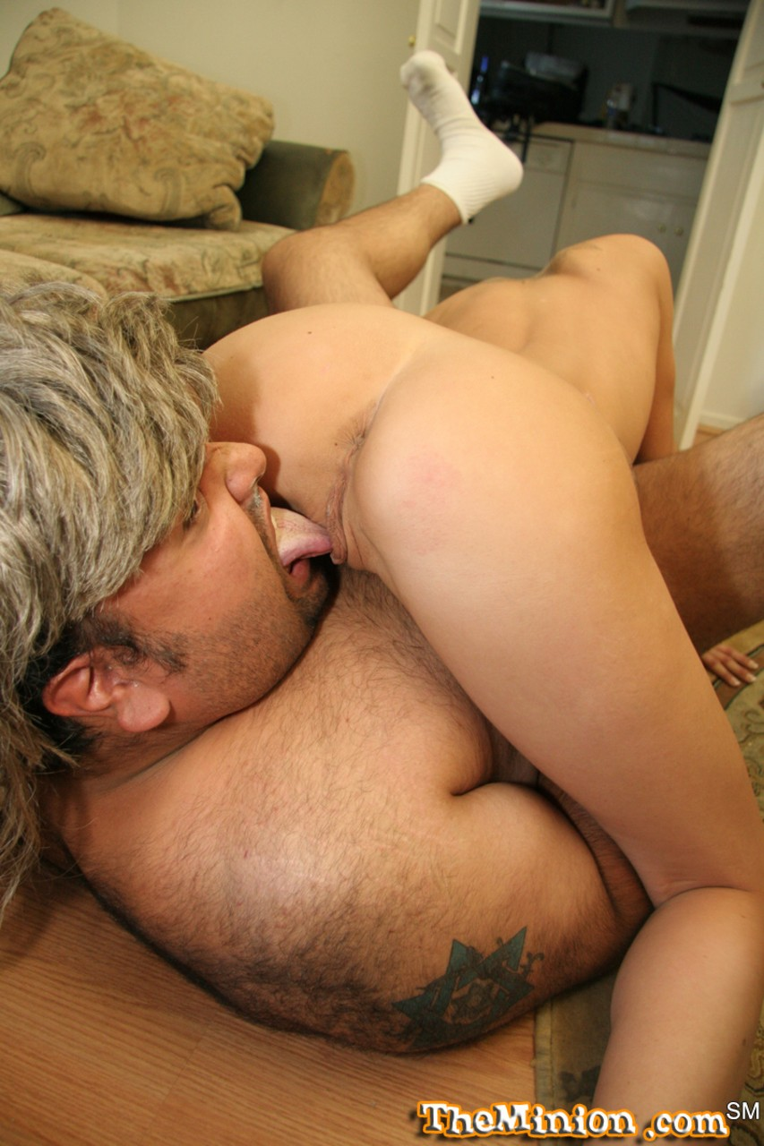 Slender blonde chick Joey Valentine takes a facial after oral sex with fat man