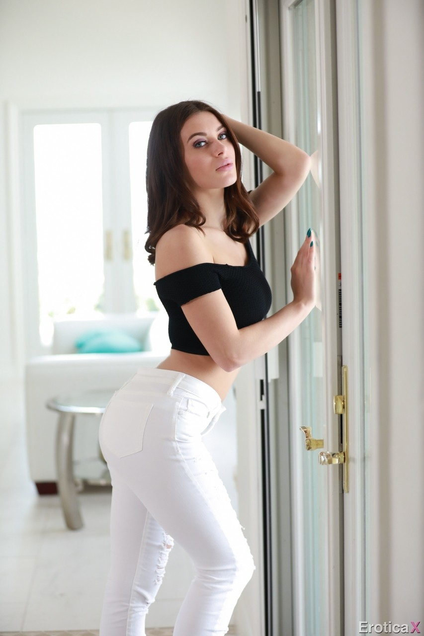 Sensational Lana Rhoades shows perfect boobs and grabs her mans fat dick