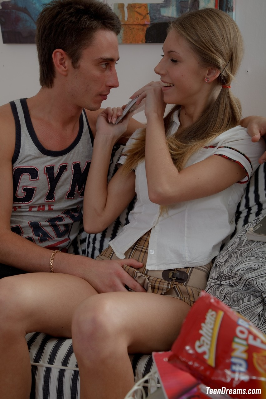 Cute schoolgirl Anjelica getting fucked at home by a big-dicked stud