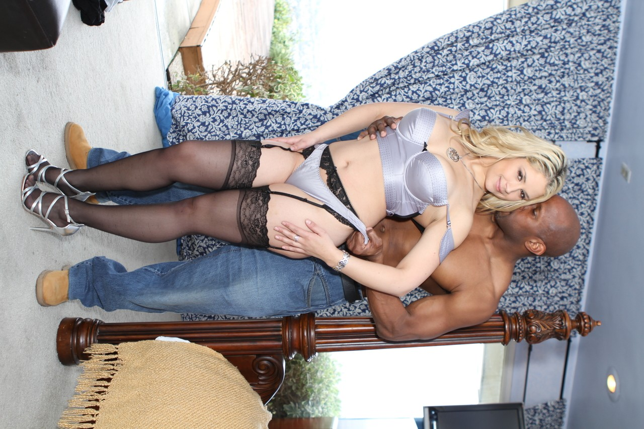 Stunning blonde chick Alia Salazar getting fucked by black dong hard