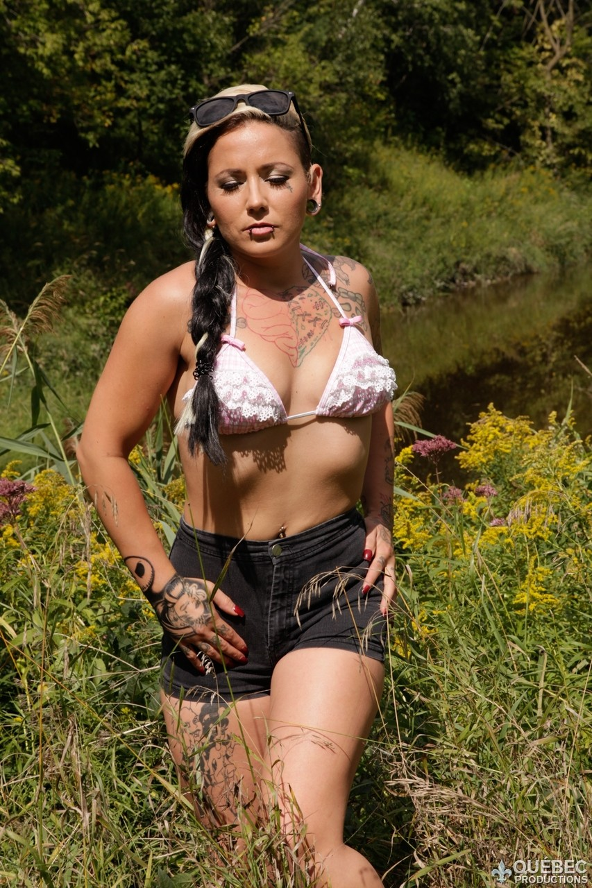 Amazing Boobs Pic lily fatale posing naked outdoors showing her pierced