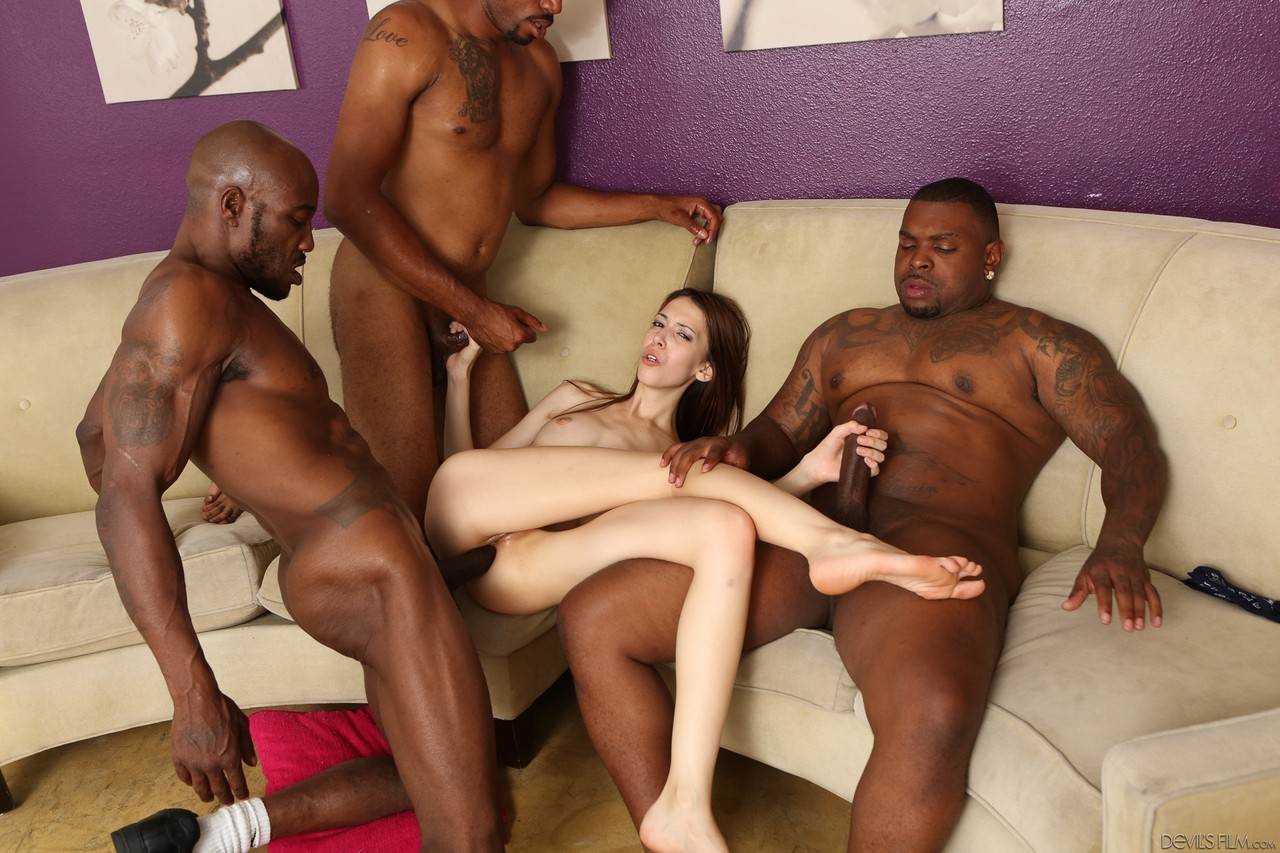 Interracial gangbang foursome hardcore sex, sexy girls looking for guys