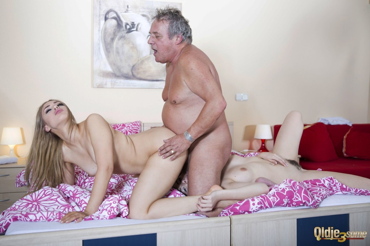 Old lucky man got to fuck two hot chicks Alana Moon and Luna Rival