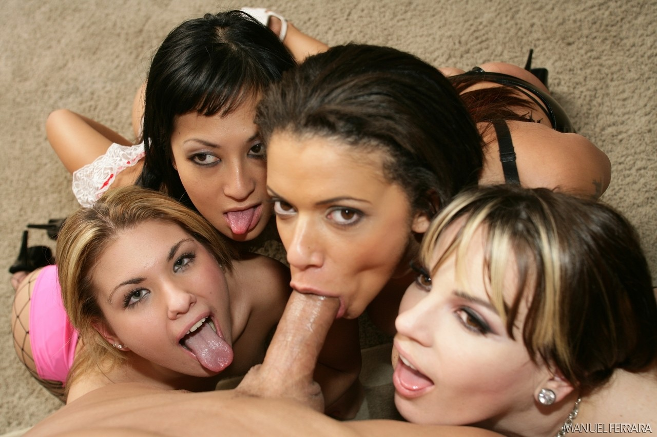 Eight girls one cock