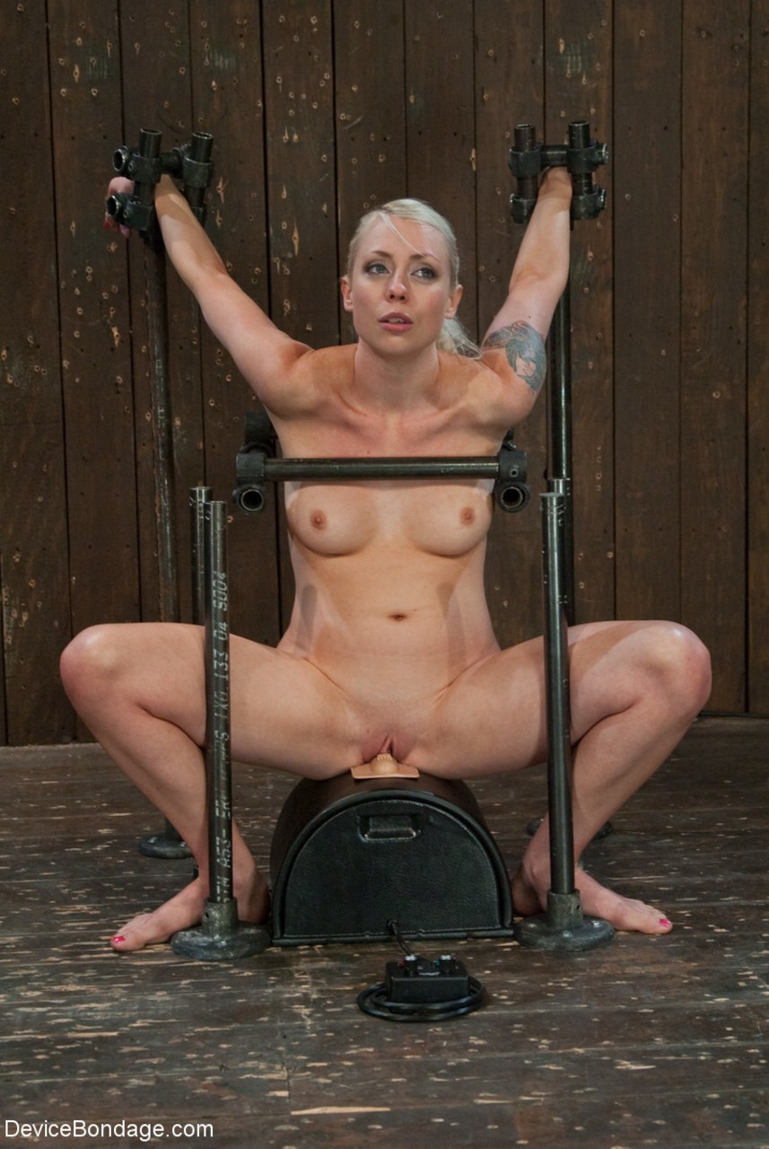 naked blonde lorelei lee is made to ride a sybian while
