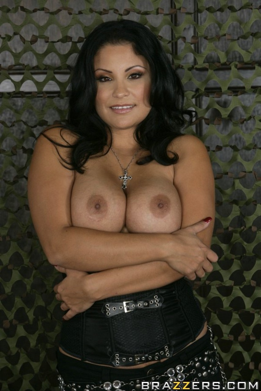 Sexy Latina mature Sophia Lomeli reveals her great big tits  shaved snatch