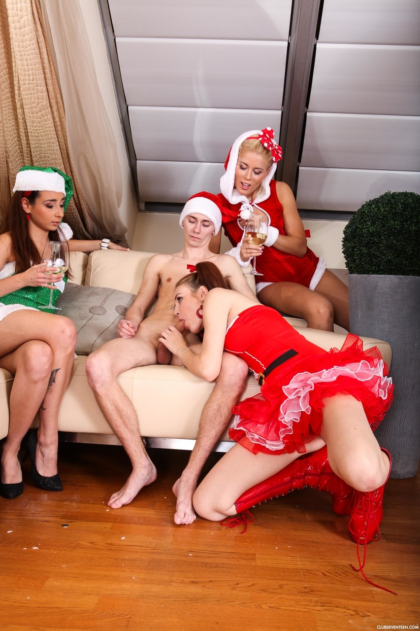 Four chicks Cathy I Candy F Anna L Ester B fucked by two guys on Christmas