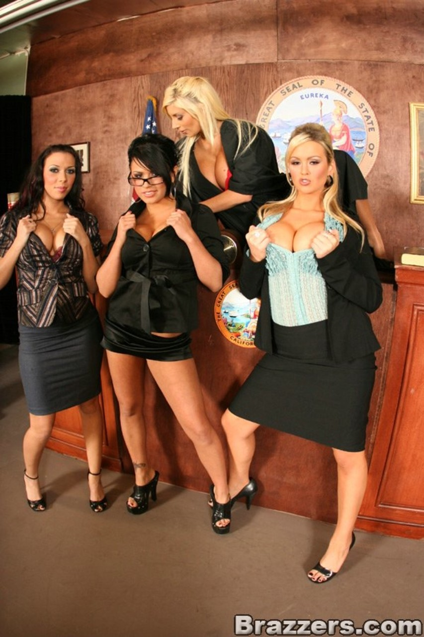 Four Girls Naked four lawyer girls pose, strip and worship their big tits