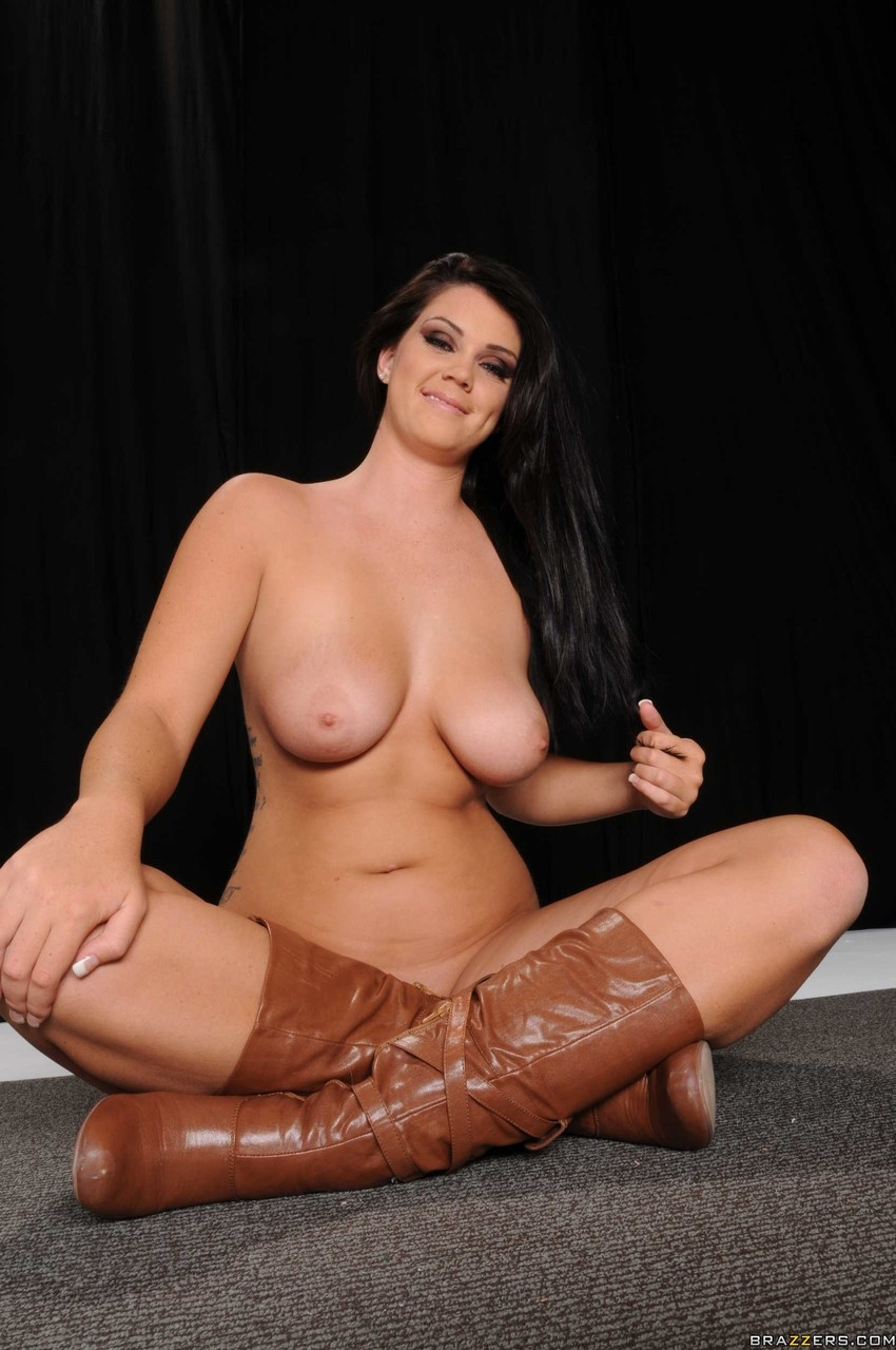 Naturally busty stunner Alison Tyler whips out her sweet big tits to spread