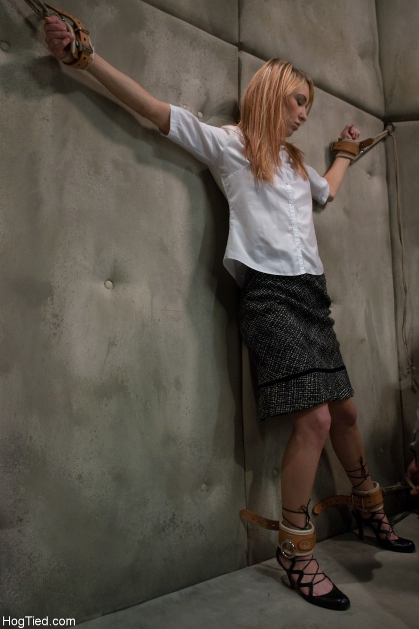Tied up redhead Calico dominated with vibrator in strange cellar