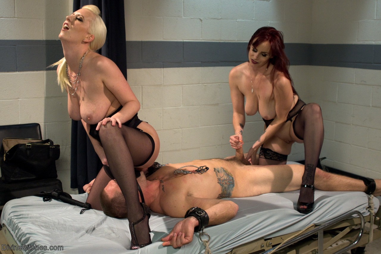 Four Shemales Dominating Submissive Guy And Riding His Dick And Anal Fucking Him