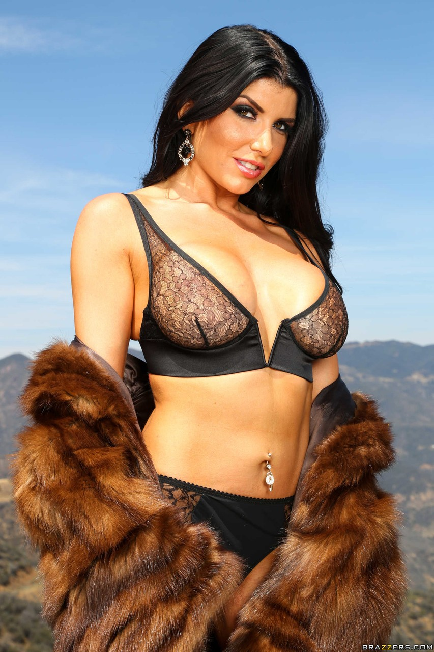 Sexy Romanian brunette with big tits Romi Rain enjoy solo anal toying