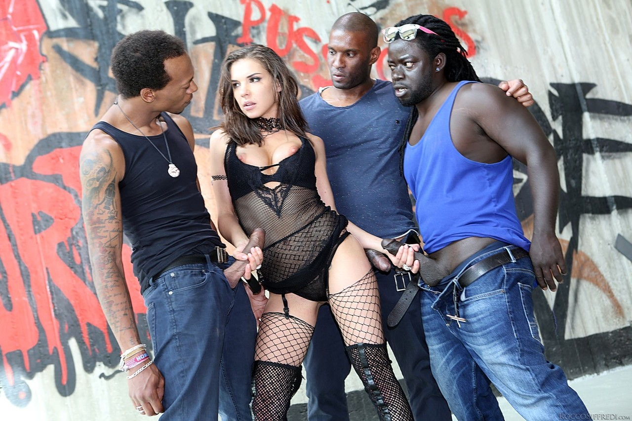 ... Super hot Henessy gets her fill of BBC in rough & raunchy interracial  gangbang ...